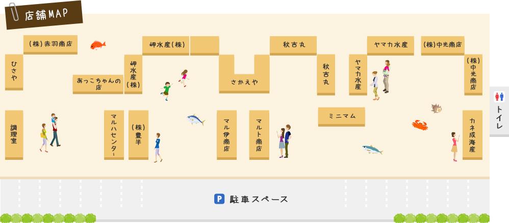 師崎漁港朝市 店舗マップ